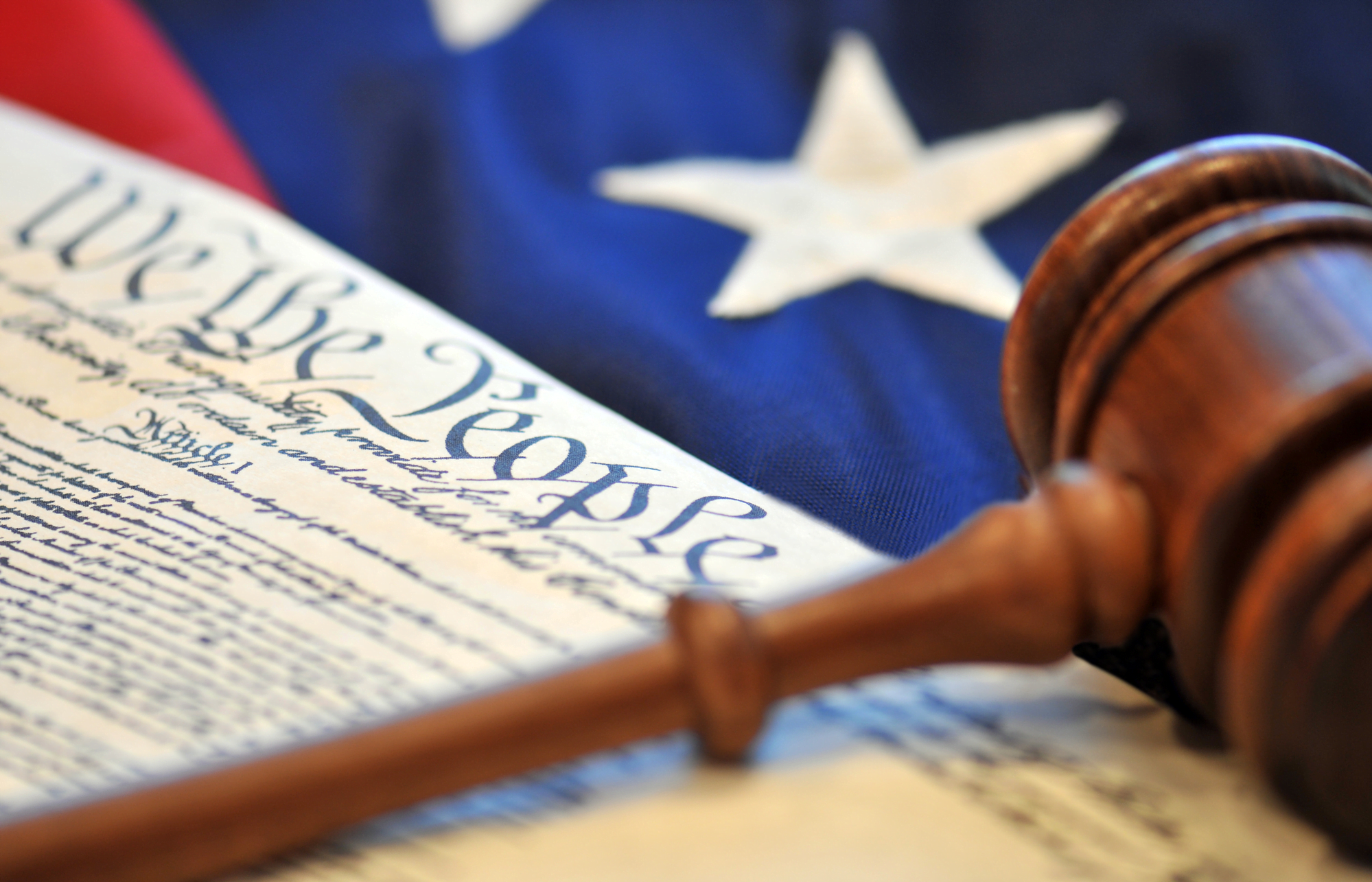 Gavel, US Constitution, and US Flag